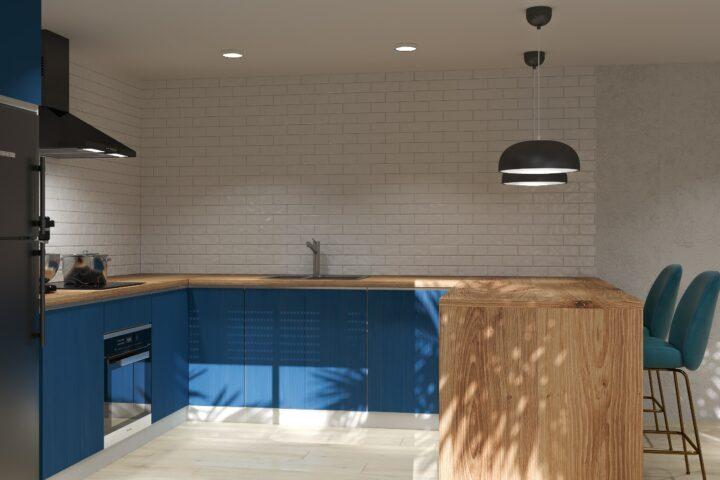 3d cocina azul